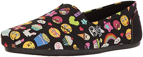 BOBS from Skechers Women's Plush-Short Hand Flat, Black Emoji, 8 M US 31475