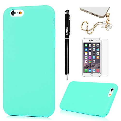 Price comparison product image iPhone 6S Plus,iPhone 6 Plus Case Thicken Frosted Slip Resistant Shockproof Drop Protection TPU Bumper Slim-Fit Scratch Resistant Coating Protective Cover for iPhone 6S/6 Plus by Badalink - Mint Green