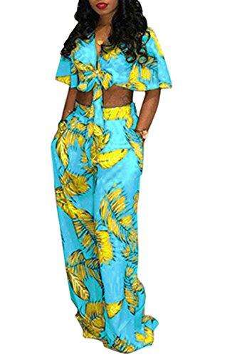 怒り階層鬼ごっこDazosue 女性花ジャンプスーツ包帯作物Vネックロングワイドパンツロンパス Blue L