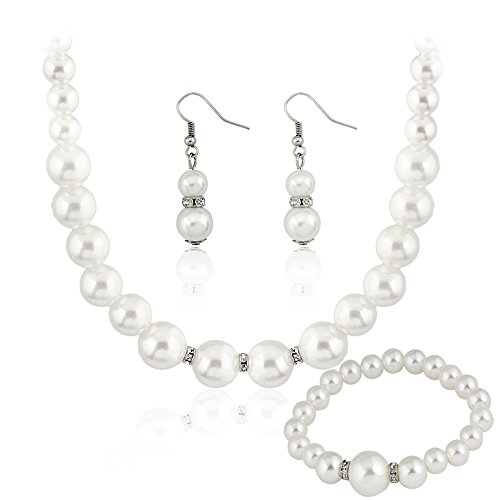 Danbihuabi Silver Plated Faux Pearl Necklace Earring Bracelet Jewelry Set (Small Pearl Faux)