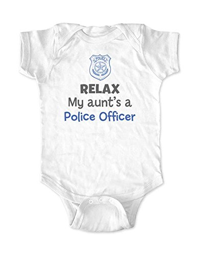 Relax My aunt's a Police Officer - cute funny baby bodysuit (12 Months Bodysuit, - 5.0 Job Is Who