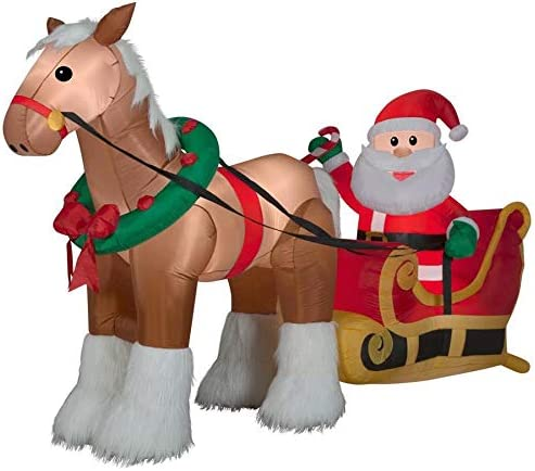 Gemmy Inflatable Horse Pulling Santa S Sleigh 6 5ft Outdoor Christmas Holiday Decoration Amazon Ca Home Kitchen