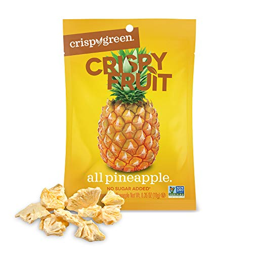 Crispy Green Freeze-Dried Fruit, Single-Serve, Pineapple, 0.35 Ounce (Pack of 12) | Non-GMO |Gluten Free |No Sugar Added ()