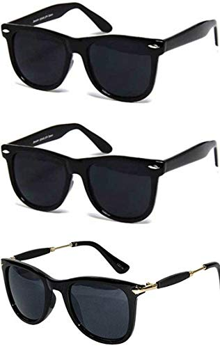 0a8caa0739d Sheomy Black Plastic Metal Men and Women s Sunglasses Combo Set of 2   Amazon.in  Clothing   Accessories