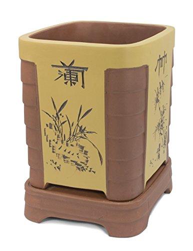 "Dahlia 10"" x 11""H Two Tone Floral Chinese Character Zisha Bonsai Planter/Plant Pot/Flower Pot w. Sau"