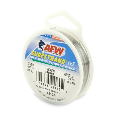 American Fishing Wire Surfstrand Bare 1x7 Stainless Steel Leader Wire, Bright Color, 210 Pound Test, 30-Feet