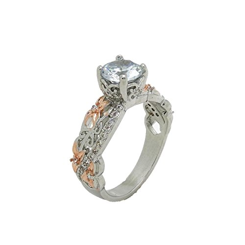 (OldSch001 Rings for Women,4 Prong Setting Two Tone Heart Shaped Zircon Ring Size 6-10 (Multicolor, 7))