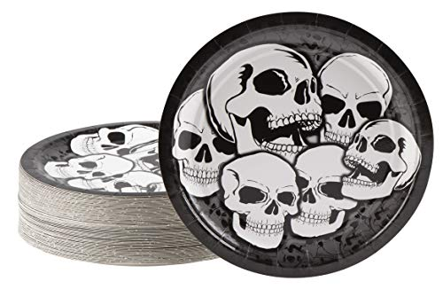 Disposable Plates - 80-Count Paper Plates, Halloween Party Supplies for Appetizer, Lunch, Dinner, and Dessert, Skull Design, 9 Inches Diameter -
