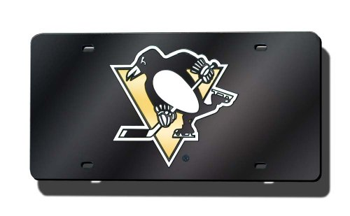 (NHL Pittsburgh Penguins Laser Inlaid Metal License Plate Tag)