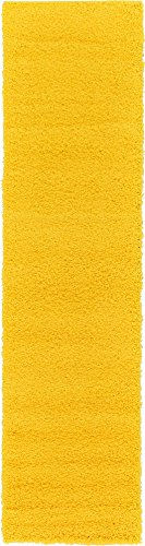 Unique Loom Solo Solid Shag Collection Modern Plush Tuscan Sun Yellow Runner Rug (2' 6 x 10' 0) (Yellow Runners)