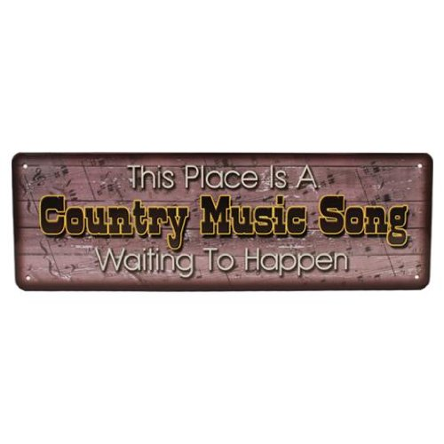 River's Edge Large Country Music Song H-Tin Sign, Brown