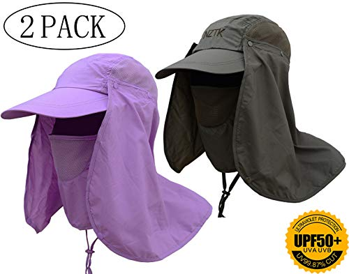 Fishing Hat Summer Sun Cap Wide Brim Removable Face Neck Cover Flap Military Quick Dry Breathable 360° UV Protection UPF 50+ for Man Women Outdoor Sports Hiking Fishing Travel (Army green&purple) ()