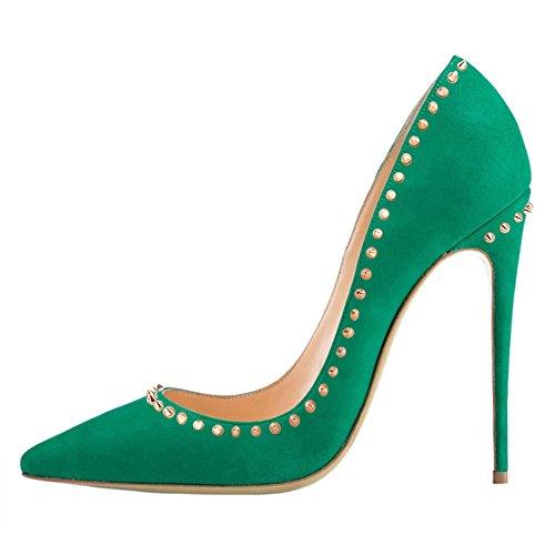 Multi Colored High Heel (VOCOSI Women's BP-023 Stilettos Heels,Multi-colored High Heels Studs For Ladies Party Pumps Plus Size Suede-Green 7 US)