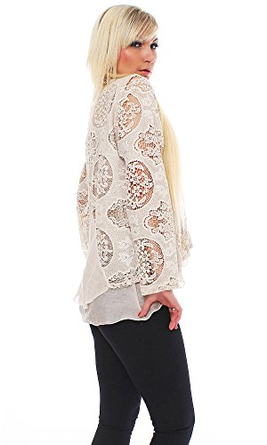 Mujer seda viscosa Chaqueta con WC eppel Punta, manga larga, top, diseño moderno Beige
