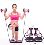 MindBody Fitness Ab Roller with Comfort Knee Pad Core Ab Trainer Equipment with Resistance Band (Pink)