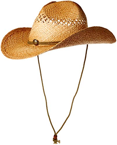 Henschel Vented Hand Stained Raffia Western Straw Hat with Chincord & Concho, Raffia, Large ()