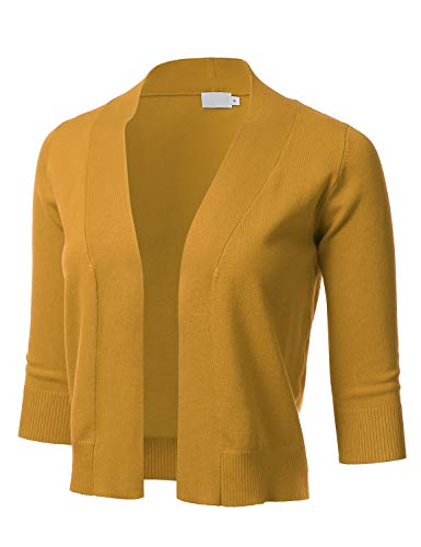 Women's Classic 3/4 Sleeve Open Front Cropped Cardigan Mustard 3XL - Neck Cropped Cardigan