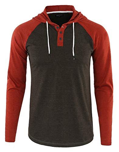 (DESPLATO Men's Casual Long Sleeve Lightweight Henley Hooded Shirt Hoodie Jersey H.Charcoal/Rusty S)