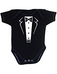 1 ONE 'Tuxedo' Fun Slogan Baby Clothes Bodysuit Vest Newborn-12 months Black or White (BLACK 0-3)