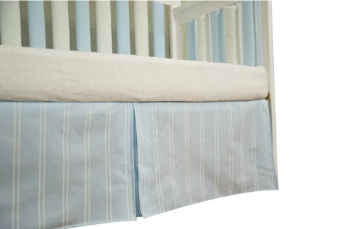 Go Mama Go Designs Box Pleat Crib Skirt, Blue/Cream Stripes, 16