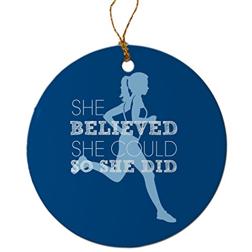 Gone For a Run She Believed She Could Ornament | Running Porcelain Ornaments | Blue (Ornament Runner Christmas)