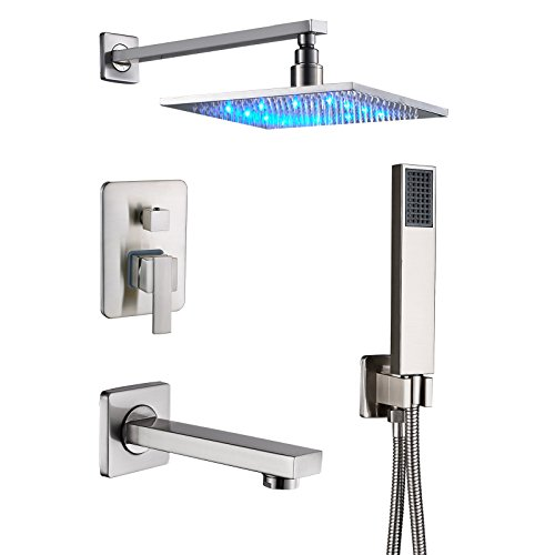 Senlesen Brushed Nickel Rain Mixer Shower Combo Set Wall Mounted 3 Way Shower System with 12