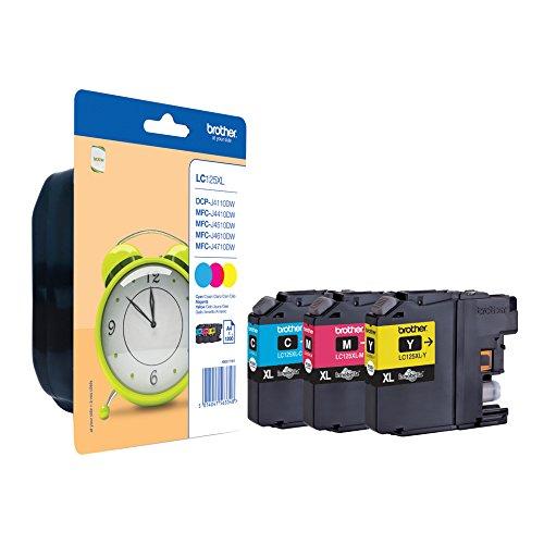26 opinioni per Brother LC-125XL Cartuccia Inkjet XL ad Alta Capacità, Ciano/Magenta/Giallo