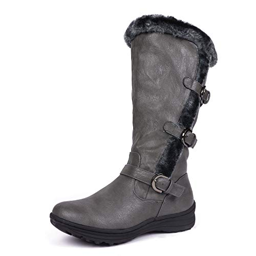 Buckle Triple - DREAM PAIRS Minx Women's Winter Fully Fur Lined Triple Buckle Ruched Snow Knee High Boots Grey Pu Size 7.5 Wide Calf