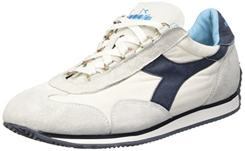 Diadora Equipe Stone Wash 12, Chaussures Basses Mixte Adulte, Blu + Bianco Bianco (White/Ebony)