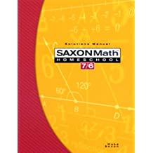 Saxon Math 7/6, Homeschool Edition: Solutions Manual