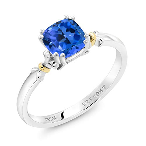925 Silver and 10K Yellow Gold Women Engagement Ring Set with Fancy Blue Zirconia from Swarovski (Size 6)