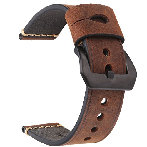 EACHE 24mm Genuine Leather Watch Band Dark Brown Crazy Horse Leather Wrist Straps with Black ()