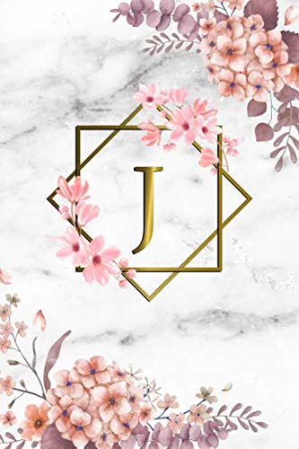 - J: Cute Initial Monogram Letter J Dot Grid Bullet Notebook. Pretty Personalized Journal Diary for Writing & Notes with Dot Grid Pages for Women & Girls - Grey Marble & Gold Pink Floral Print