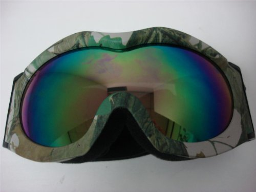 Motorcycle Motocross Off-road Ski Snowboard Race Goggles Green Camo tinted Youth size