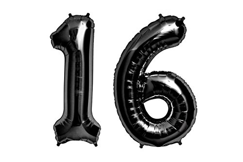 C-Spin 40 INCH Big Large 16 BLACK Number Foil Balloon 40