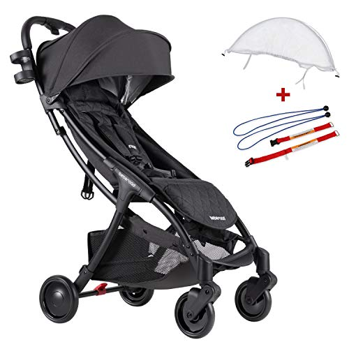 Compact Stroller 2020 Ultra Lightweight Baby Stroller + Universal Mosquito Net + Universal Car Seat Adapter Dark Grey & White