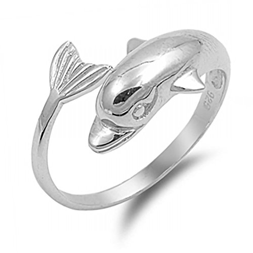 Wraparound Dolphin Tail Flukes Ring 925 Sterling Silver Jewelry Size (Wrap Around Dolphin)