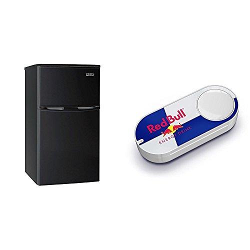 Ge Black Top Freezer Refrigerator (RCA-Igloo 3.2 Cubc Foot 2 Door Fridge and Freezer, Black & Red Bull Dash Button)