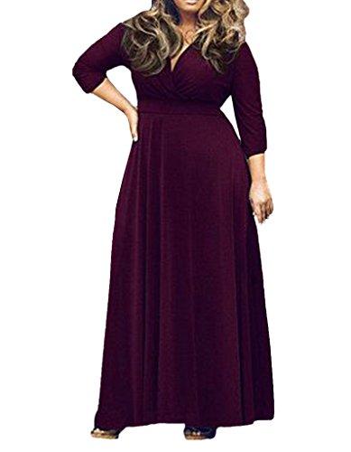 365 Achats Manches Longues Col En V Femmes, Plus La Taille Maxi Robe De Soirée Violette Fête