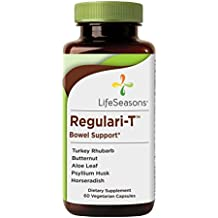 Regulari-T - Natural Constipation & Bowel Relief Supplement - Maintain Healthy Colon Regulation and Elimination - Stool Softening - Reduce Gas Discomfort - LifeSeasons (60 Capsules)
