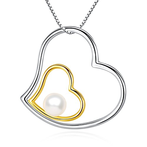 Mother's Day Gift Heart Necklace Gold & Sterling Silver Double Heart Pearl Pendant Necklaces,18 inch ()
