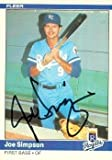 Joe Simpson autographed Baseball Card (Kansas City Royals) 1984 Fleer #358 - Autographed Baseball Cards