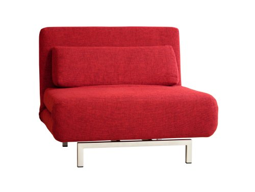 Amazon.com: Baxton Studio Romano Convertible Sofa Chair Bed, Red ...