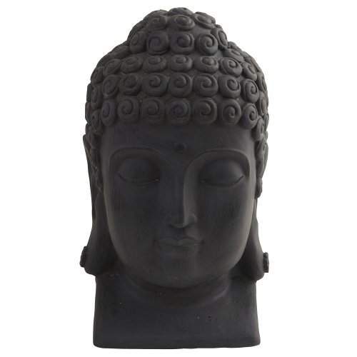 Nearly Natural 4983 Indoor/Outdoor Buddha Head, Black (Large Outdoor Sculptures For Sale)