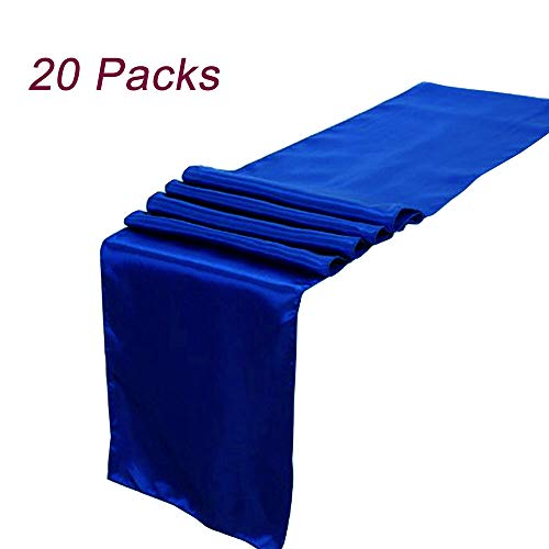 LG Home Pack of 20 Wedding 12 x 108 inch Satin Table Runner for Wedding Banquet Decoration- Royal Blue
