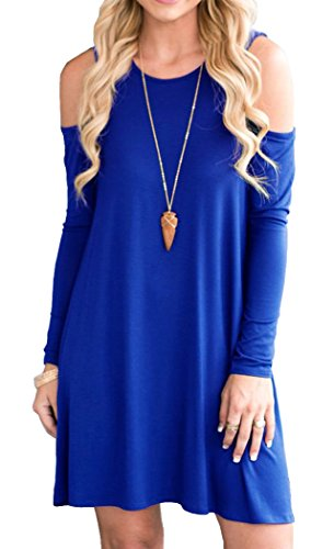 QIXING Women's Long Sleeve Cold Shoulder Casual Loose Swing Dress Royal Blue-M (Womens Blue Dress Royal)