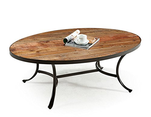 (Emerald Home Berkeley Rustic Wood Coffee Table with Oval Top And Metal Base)