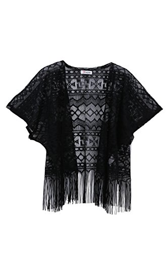 [Soul Young Women's Summer Lace Kimono Beachwear Cover up Shawl Cape Wrap Blouse] (Black And White Cape)