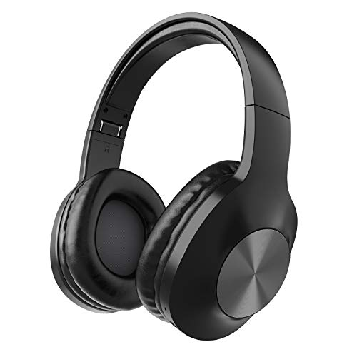 Bluetooth Headphones, Letscom Wireless Headphones Over Ear with Hi-Fi Sound Mic Deep Bass, 150H Playtime and Soft Memory Protein Earpads for Travel Work TV PC Cellphone - Black