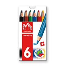 Caran d'Ache Fancolor Color Pencils, 6 Colors, Mini Pencils